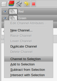 GIMP channel to selection